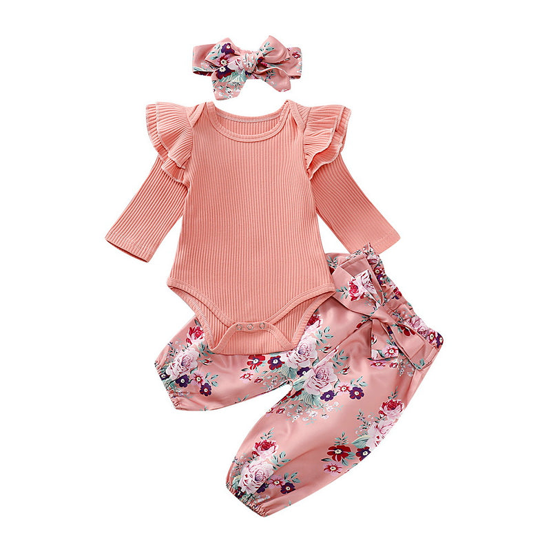 3-PCS Baby Girl Long Sleeved Floral Outfit