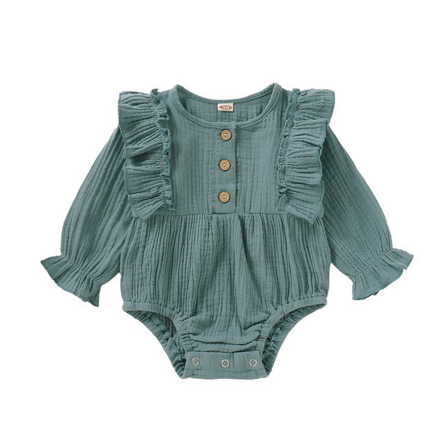 Cute Baby Girl's Ruffled Summer Onesie