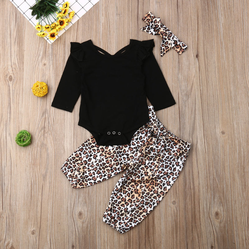 3-PCS Baby Girl's Long Sleeve Solid Romper With Leopard Pants & Headband