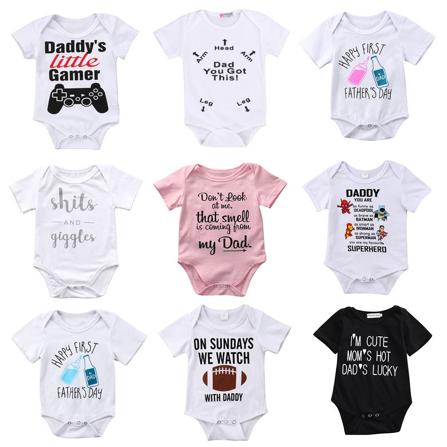 Baby Boy/Girl Funny Letter Cartoon Onesie