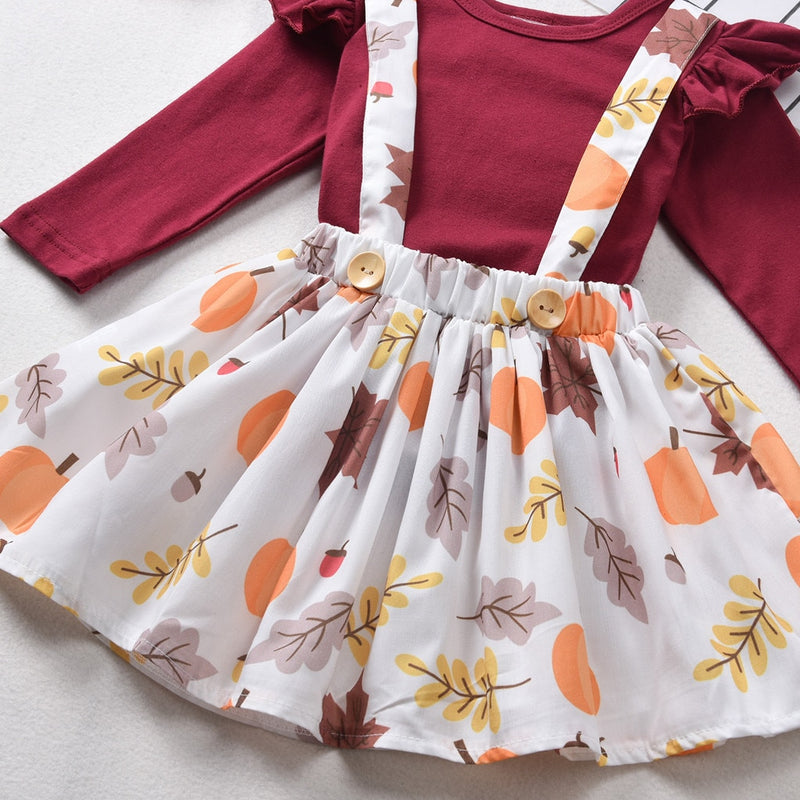 Baby's 3-PCS Thanksgiving Solid Top with Overalls Skirt & Matching Headband