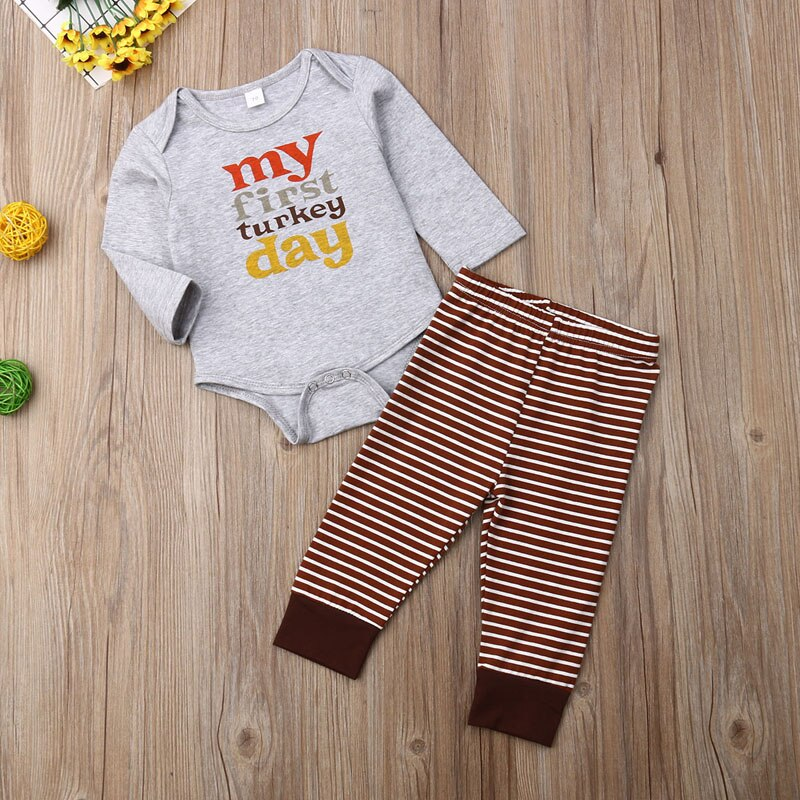 Baby's 'My First Turkey Day Printed Outfit Set