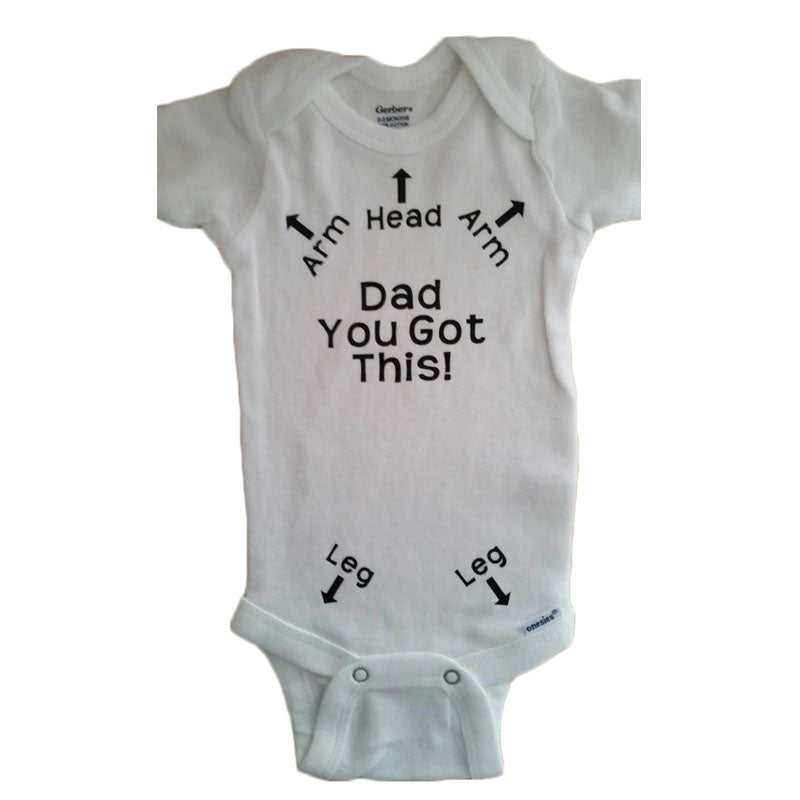 Baby's Short Sleeve 'Dad You Got This' Arrow Printed Cotton Onesie