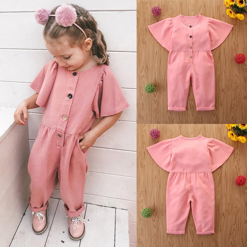 24M-5T Girls Lovely Pink Jumpsuit With Pocket