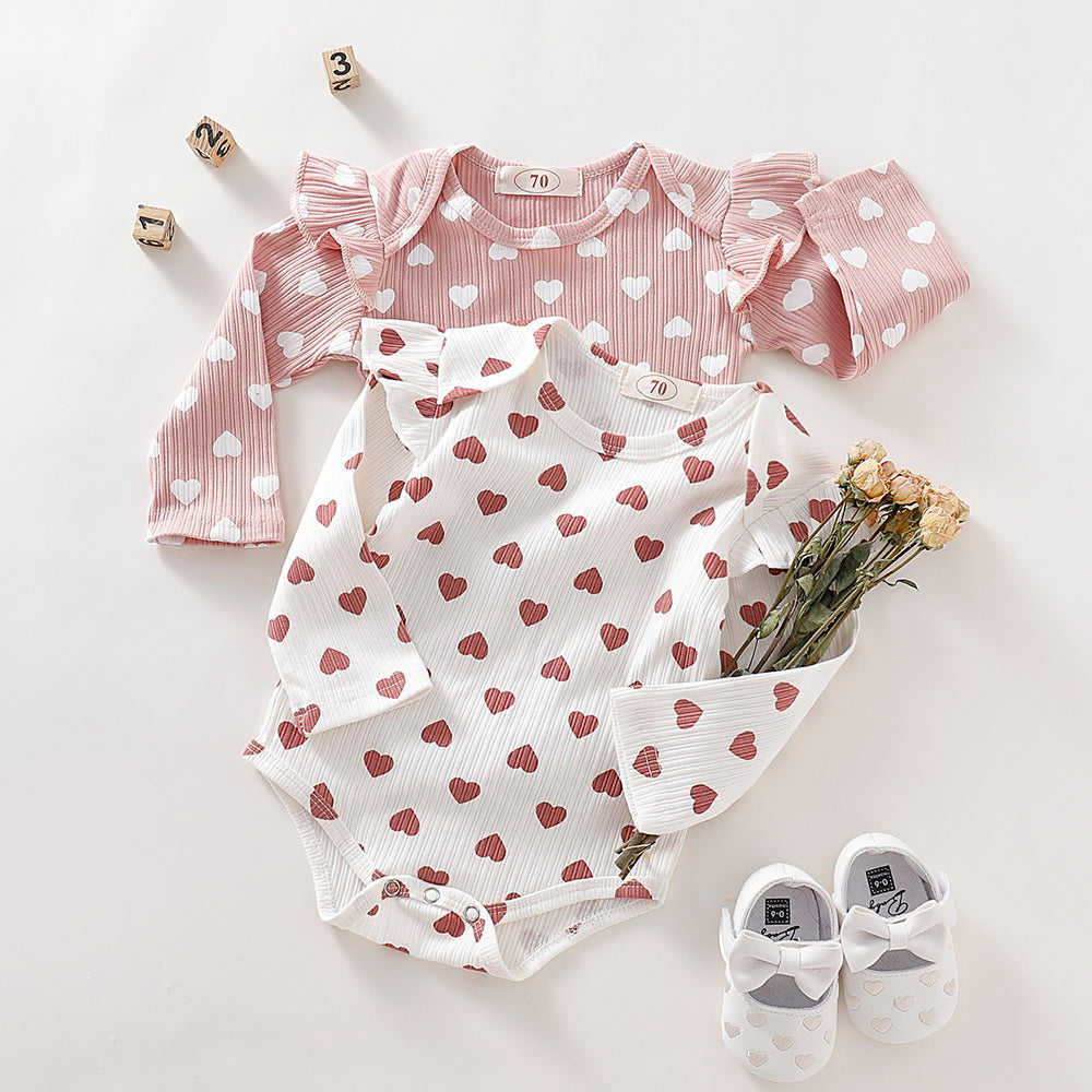 Heart Print Baby Girl Long Sleeve onesie