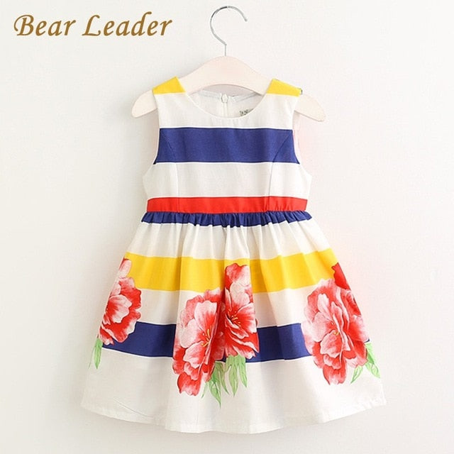 Sleeveless Floral Shirt Dress For Toddler Girls