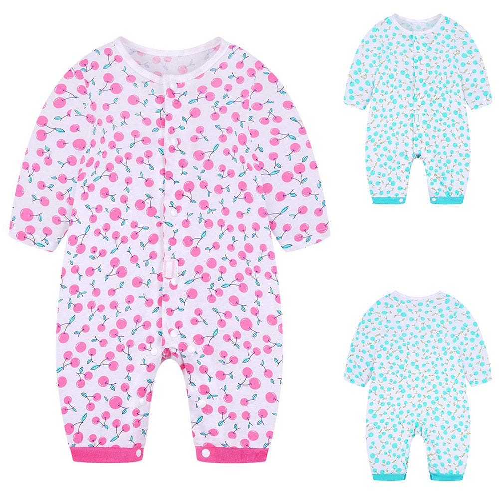 Baby's Polka Dot Fruit Print Cotton Jumpsuit