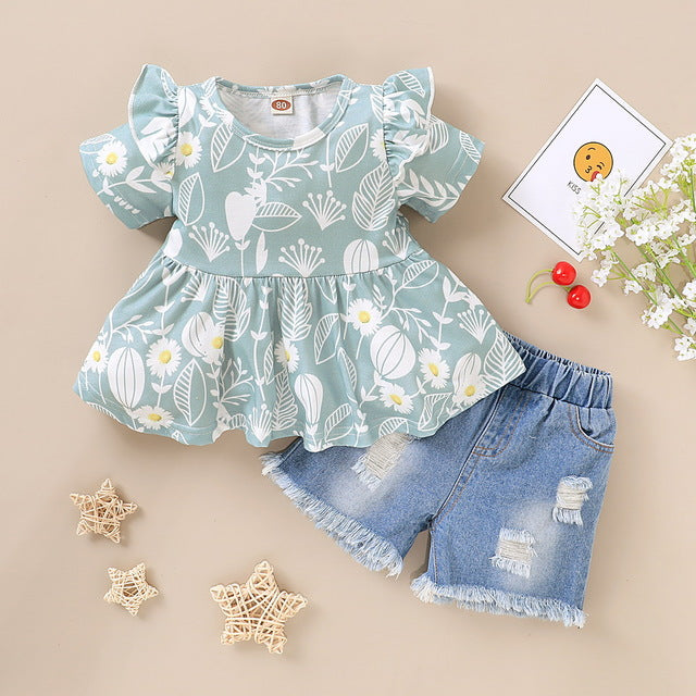 Flower Print Baby Girl's Ruffle Top + Jean Shorts
