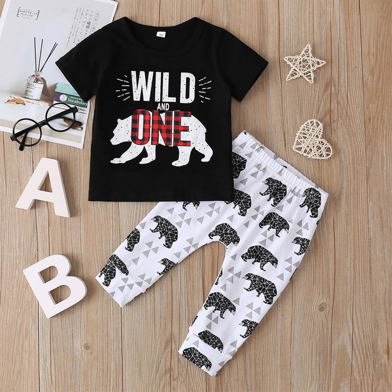 Baby Boy's Cartoon Print Short Sleeve 'Wild and One' Outfit