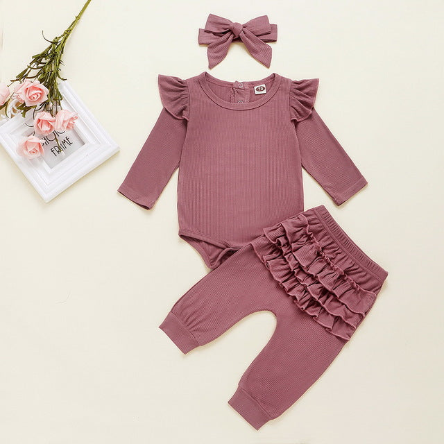 3-PCS Girls Long Sleeve Ruffle Outfit Set