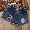 2Pcs Baby Girl's Leopard Print Sleeveless Halter Top & Jeans Set