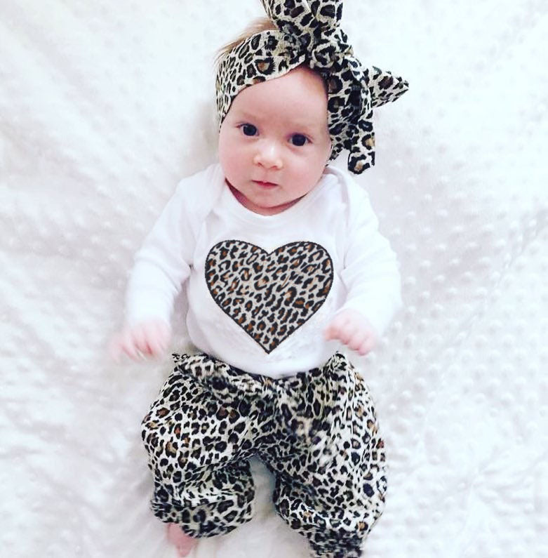 Lovely 3-PCS Toddler Girl's Leopard Heart Outfit Set
