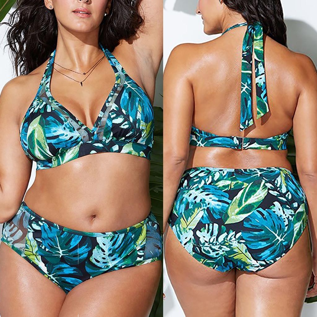 Women's Plus Size Halter Two Piece Leaf Print Swimsuit