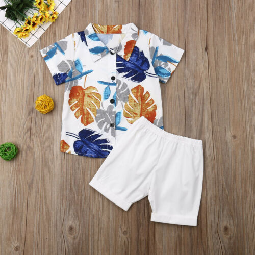 Summer Boy's Floral Print Casual Outfit