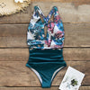 One Piece Open Back Beach Print Swimsuit