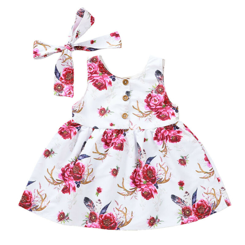 Summer Baby Girl's Sleeveless Casual Floral Sundress