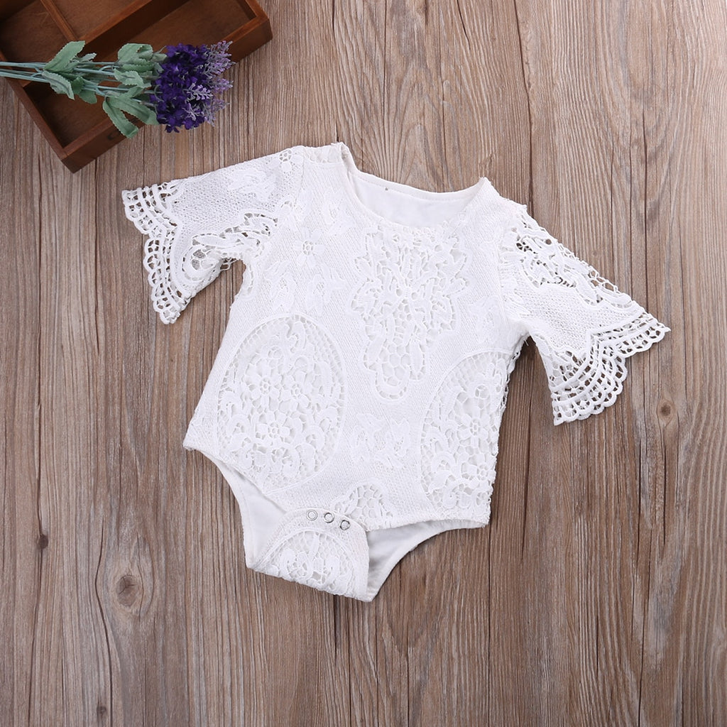 Lovely Baby Girl's White Ruffled Half Sleeve Lace Romper