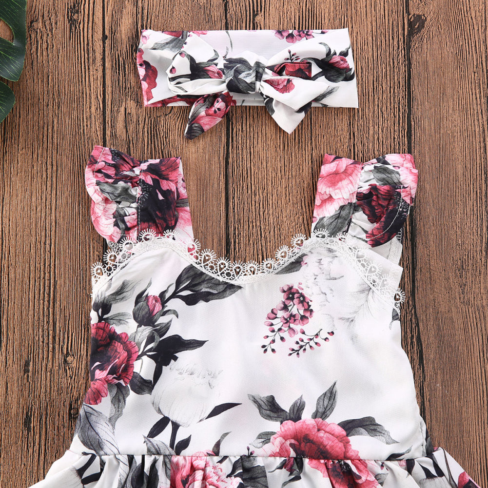 0-24M Summer Sleeveless Flower Lace Romper