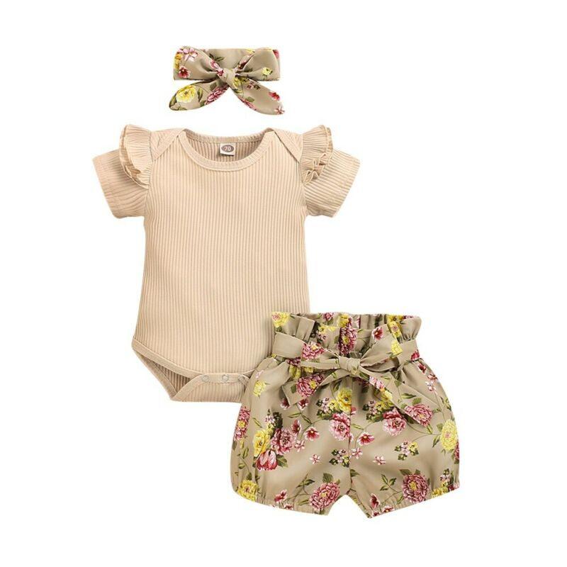 3-PCS Baby Girl's Summer Cotton Romper Outfit