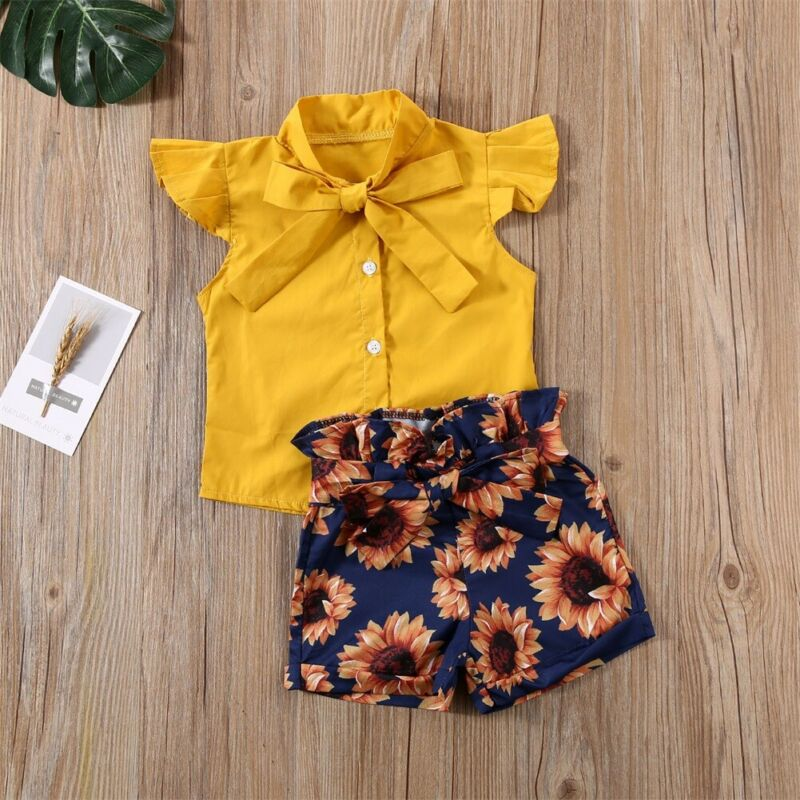 Summer Sleeveless Yellow Top Shirt with Sunflower Pants