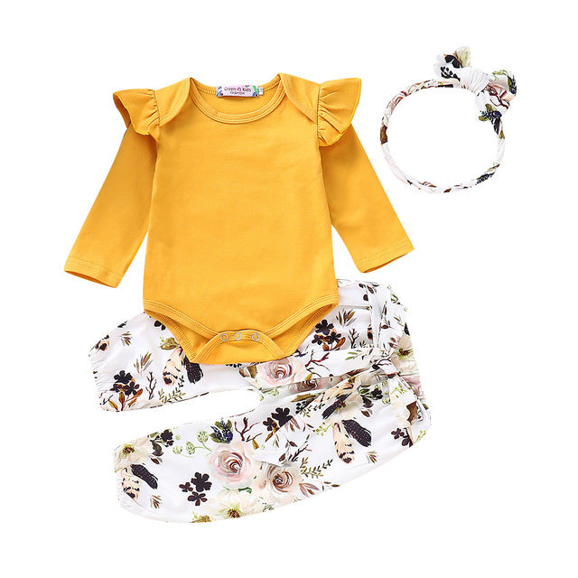 3-PCS Floral Long Sleeve Fall Outfit with Headband