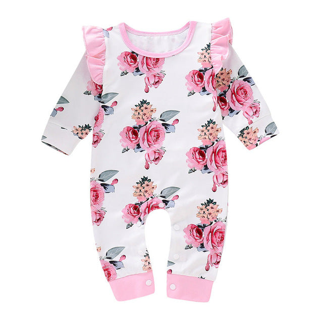 1-PC Girl's Floral Long Sleeve Jumpsuit