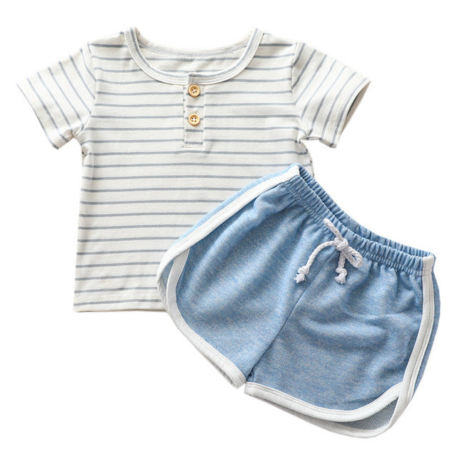 Baby Boy's Summer Striped Shirt and Shorts