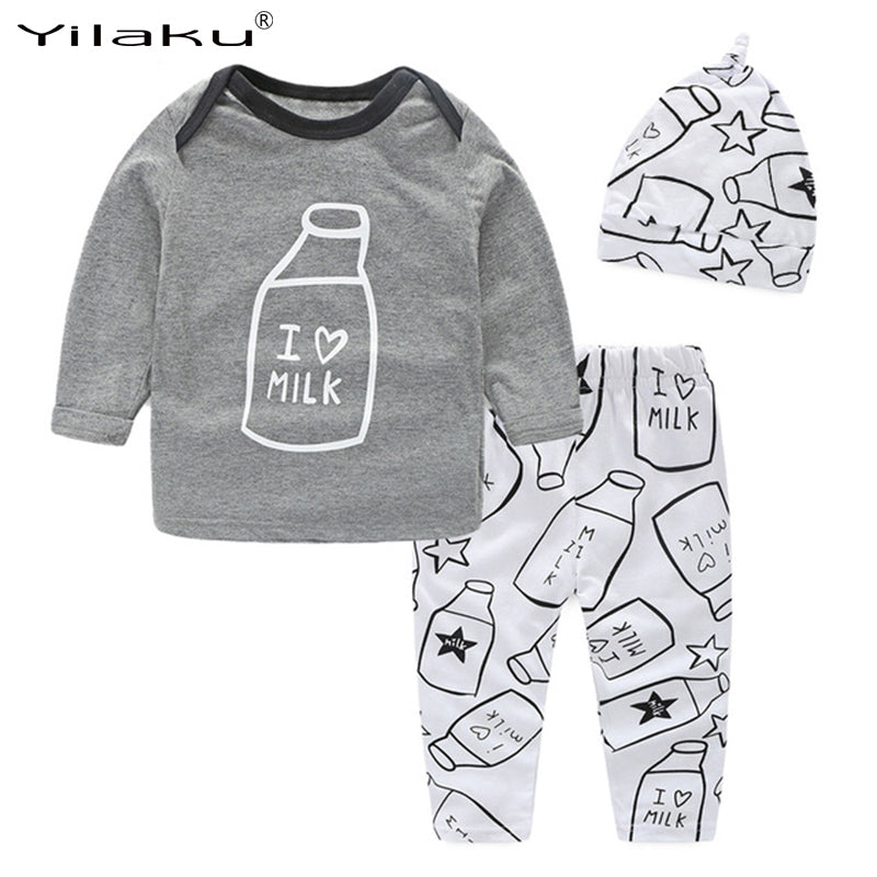 3- PCS Baby Boy/Girl 'I love Milk' Outfit