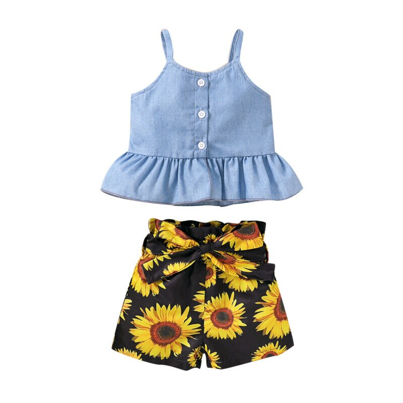 2-PCS Summer Baby Girl's Sleeveless Denim Top with Sunflower Shorts Outfit