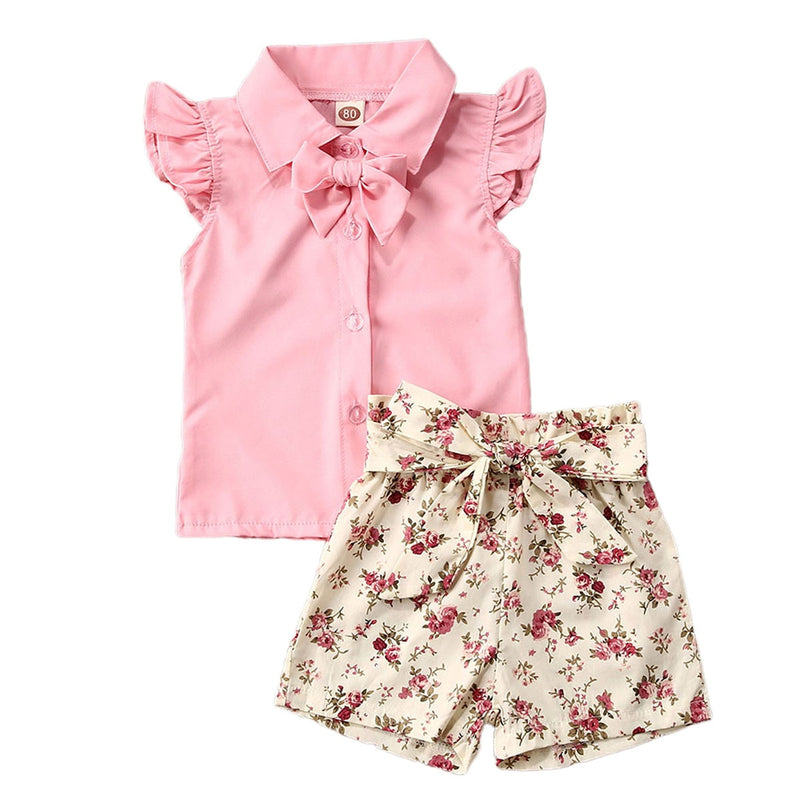2-PCS Summer Baby Girl's Pink T-Shirt with Floral Shorts Outfit
