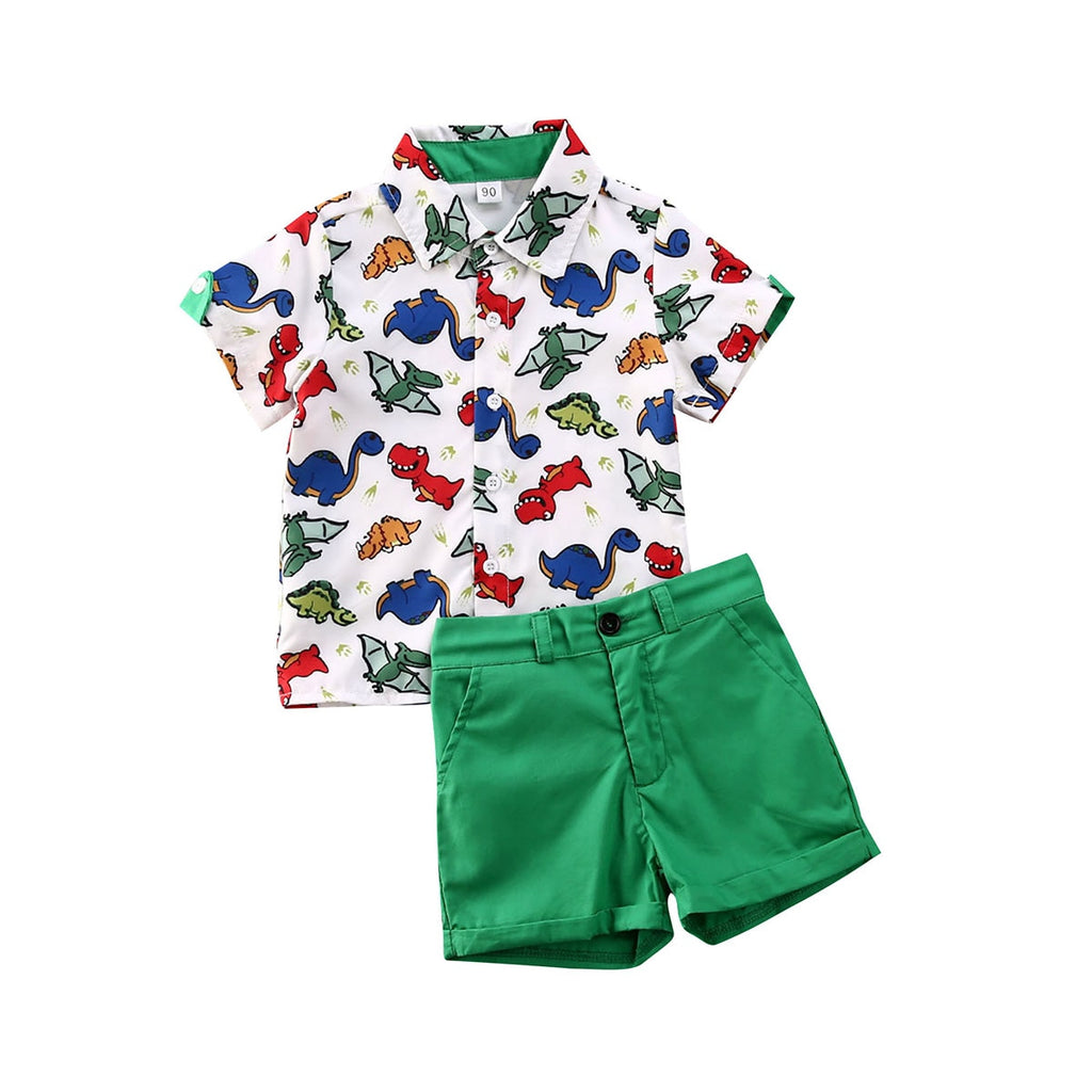 2-PCS Summer Baby Boy's Dinosaur Collared Shirt and Shorts Outfit