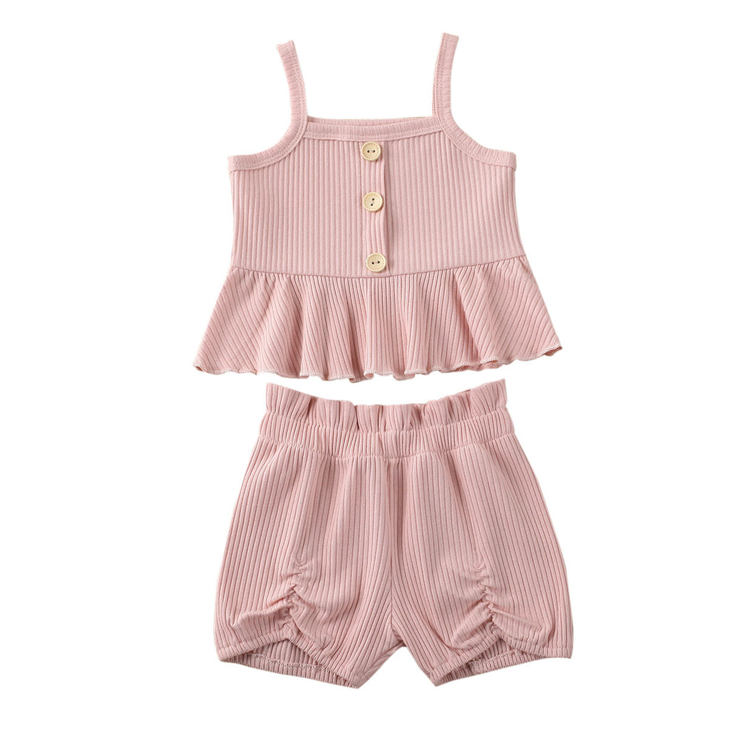 2-PCS Summer Solid Pink Suspender Top and Shorts