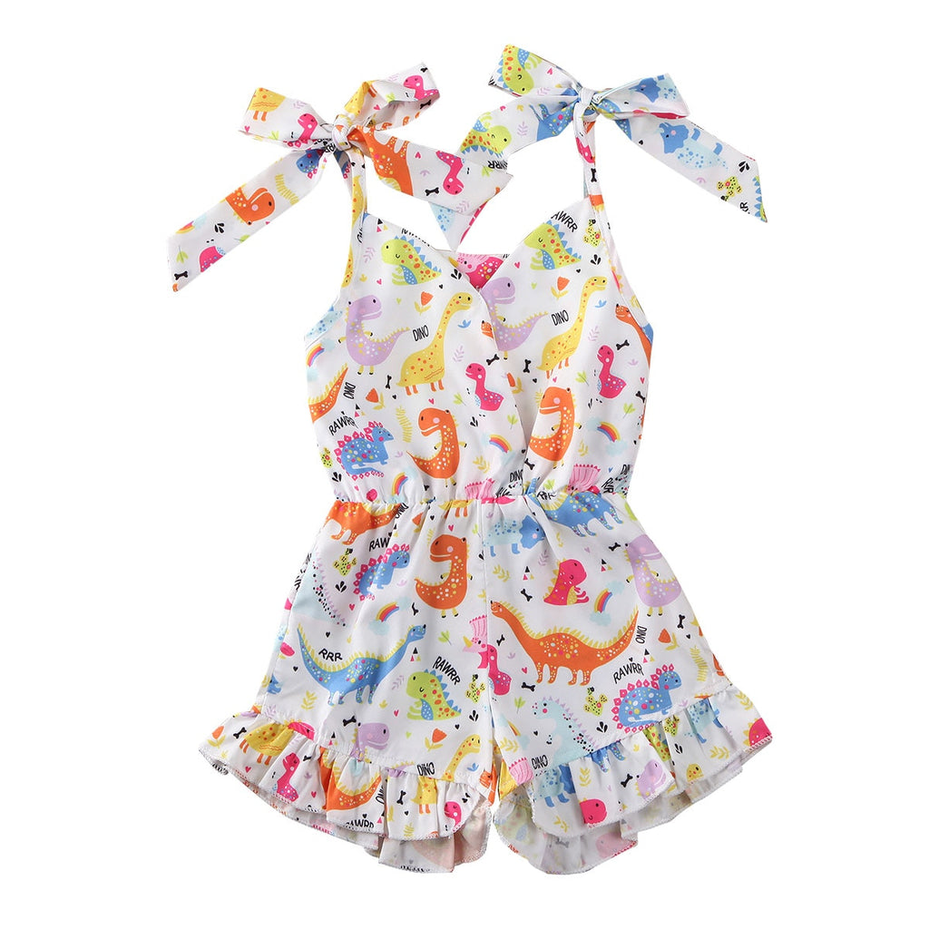 Summer Baby Girl's Sleeveless Dinosaur Print Romper