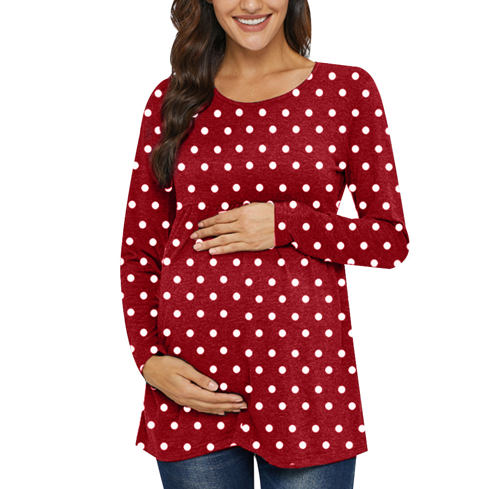 Polka Dot Maternity Long Sleeve Top