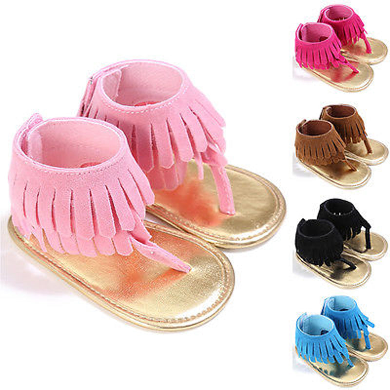 0-18M Lovely Baby Tassel Moccasin Sandals Girls Kids Soft Sole Shoes