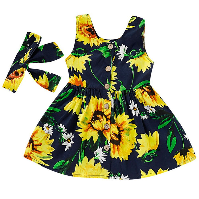 Toddler Girls' Sleeveless Sunflower Summer Dress