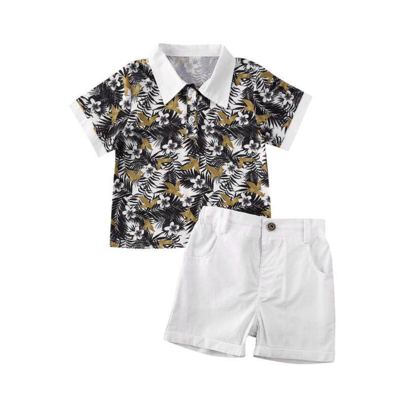 2-PCS Summer Boy's Floral Collared Shirt and Shorts Outfit