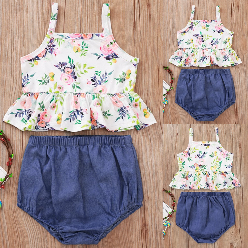 2-PCS Baby Girl's Summer Floral Sleeveless Outfit