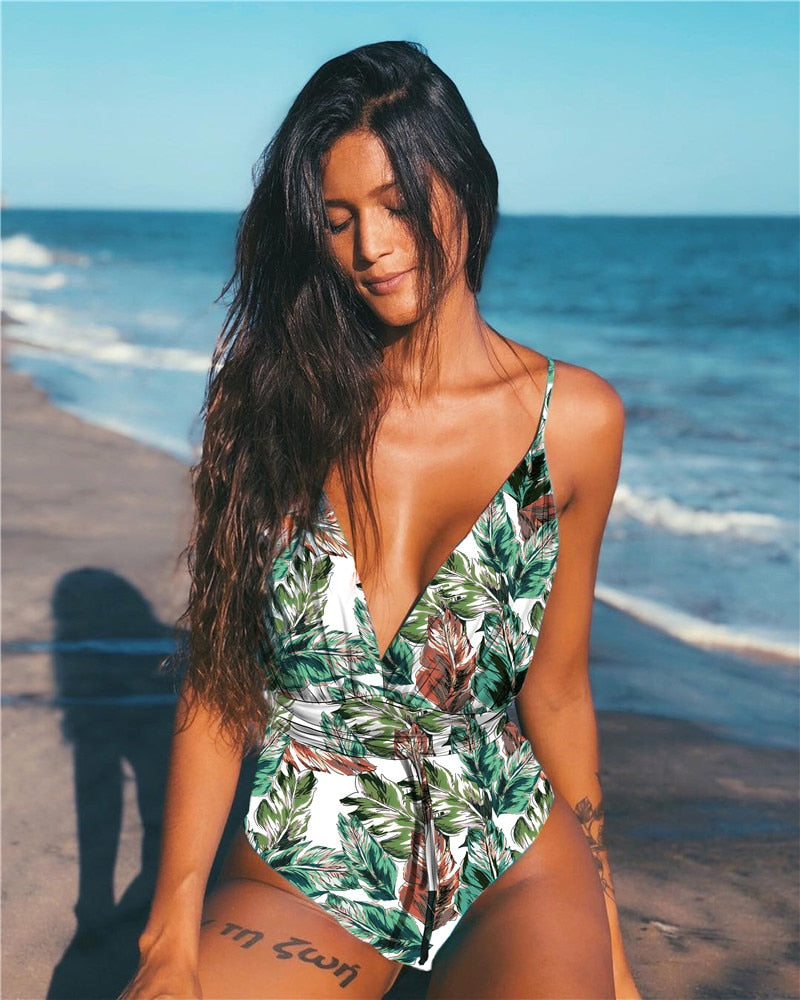 Women's One Piece Backless Swimsuit