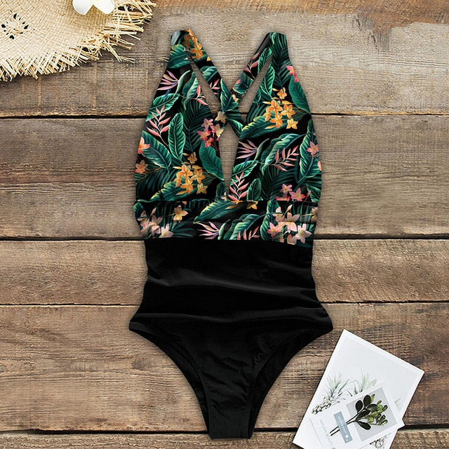 One Piece Floral Ruffled Shoulder Swimsuit