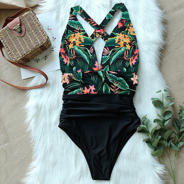 Deep V Neck One-piece Swimsuit