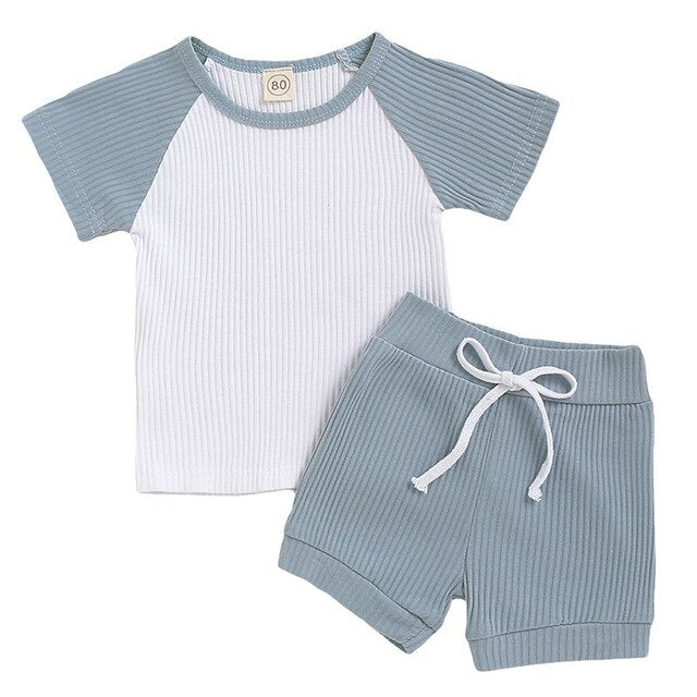 2-PCS Summer Baby Boys Ribbed Short Sleeve Shirt+ Pants Outfit
