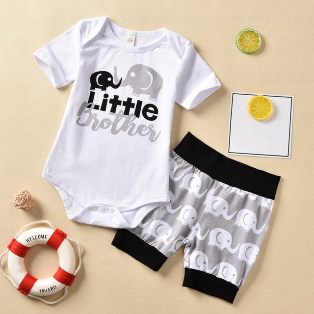 2-PCS Baby Boys Short Sleeve Cartoon Elephant 'Little Brother' Outfit