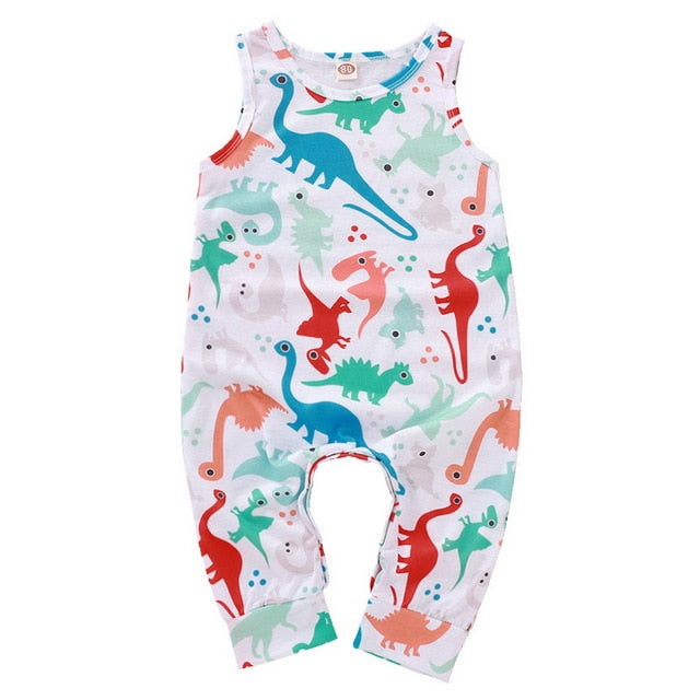 0-18M Sleeveless Baby Boy/Girl Cartoon Dinosaur Print Onesie
