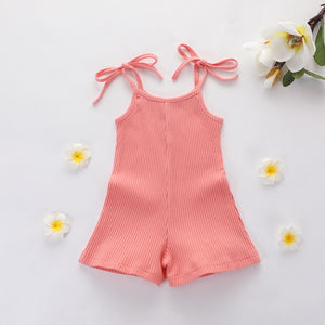 Baby Girl's One-Piece Sleeveless Knitted Romper
