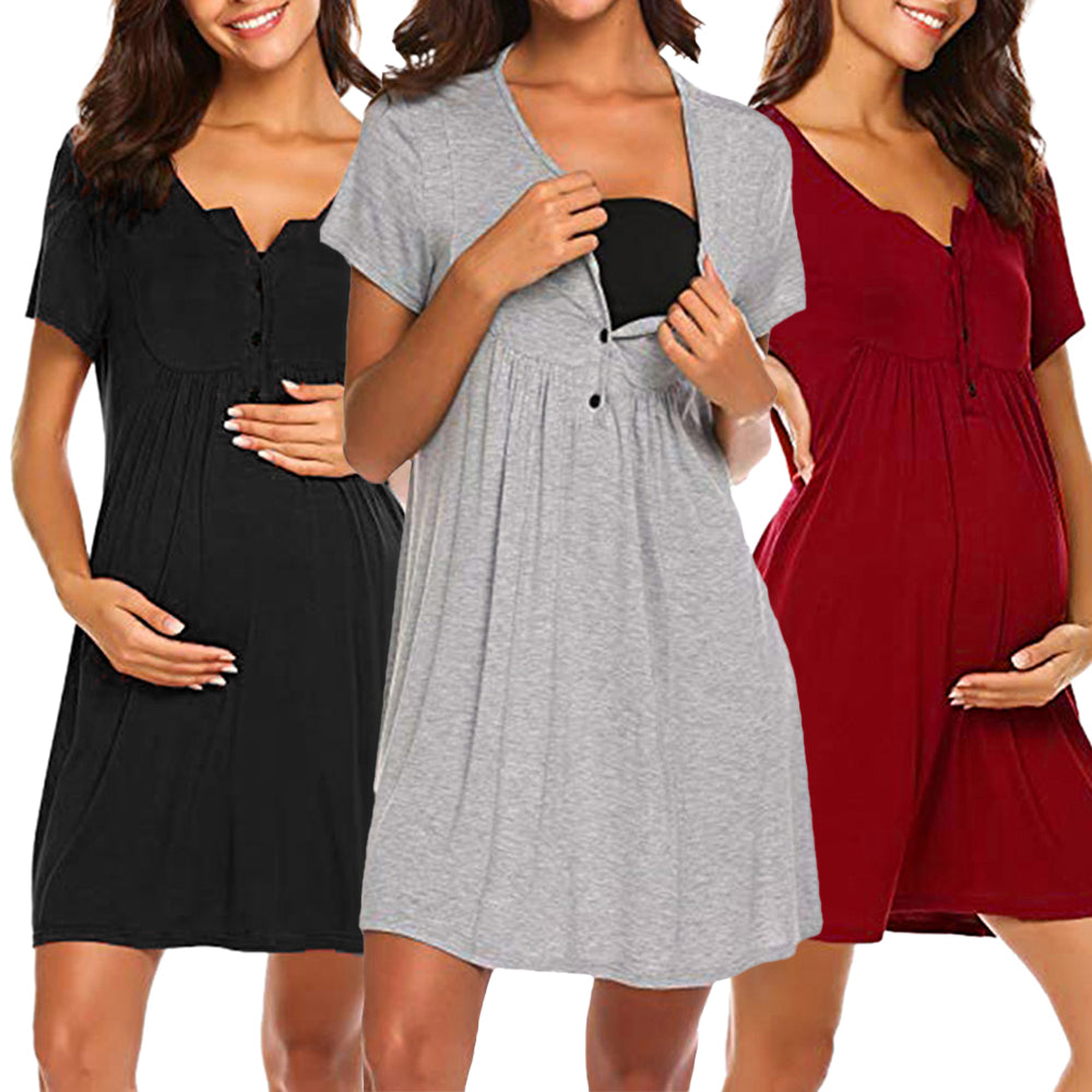Short Sleeve Solid Nursing Dress