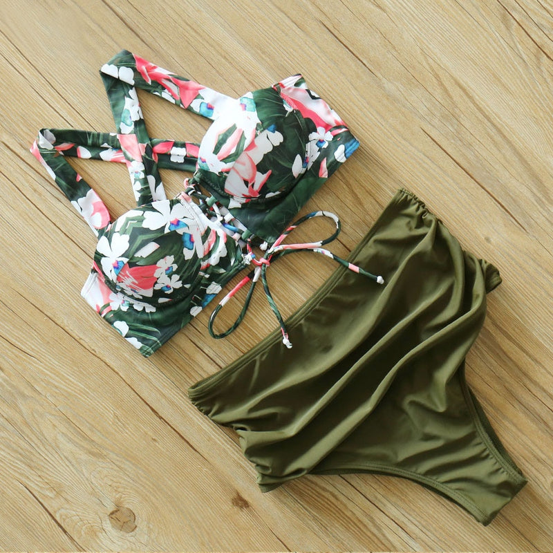 Two Piece Mid Waist Floral Lace Up Bikini