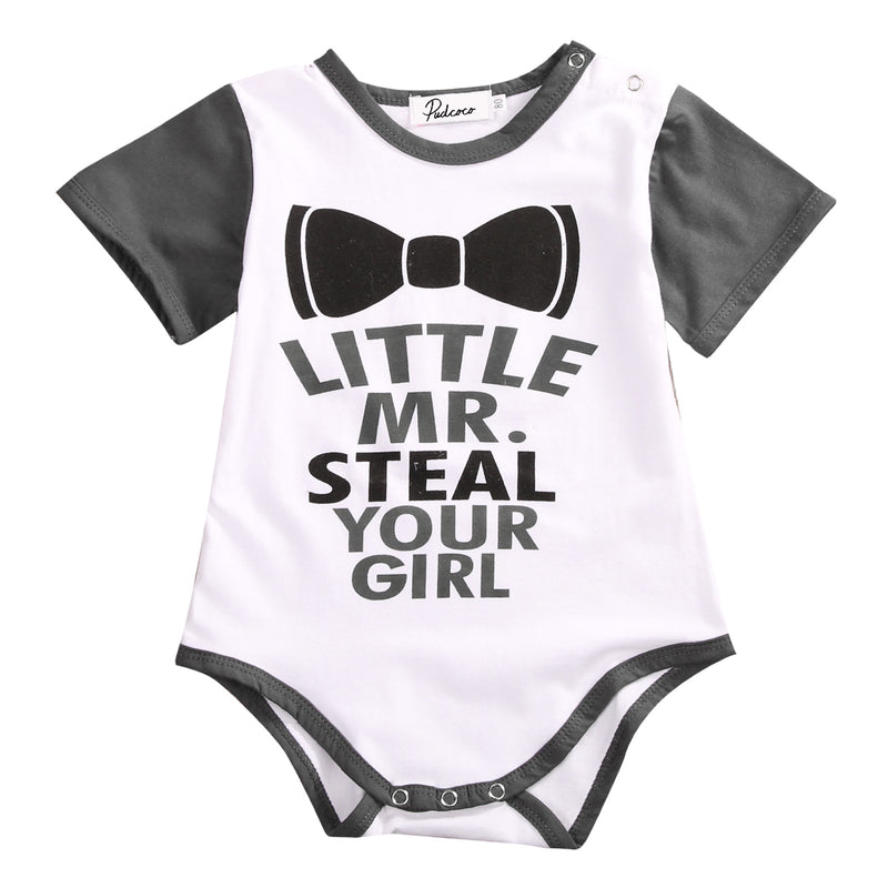 Little Mr. Steal Your Girl Print Short Sleeve Baby Boy Bodysuit
