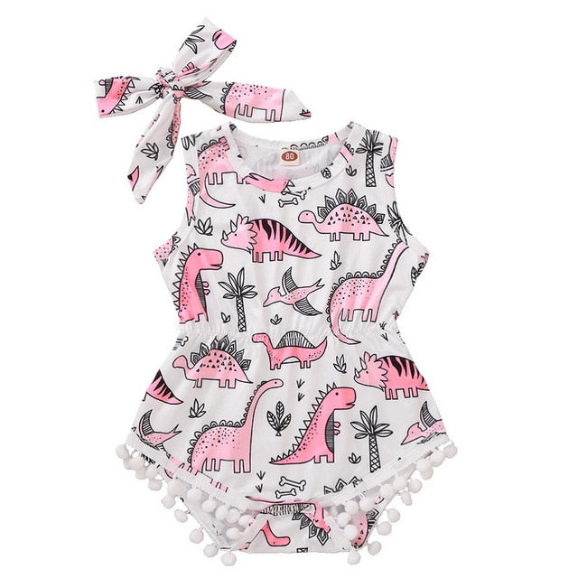 Baby Girl's Dinosaur Print Sleeveless Summer Romper With Headband