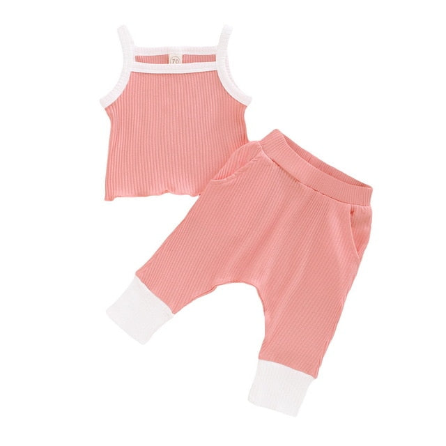 Baby Girl's Sleeveless Summer Knitted Outfit Set
